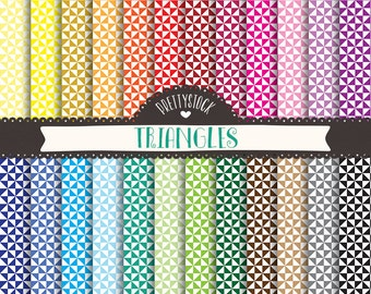 Triangles Digital Papers, Triangles Backgrounds, Triangles Scrapbooking Digital Papers - Instant Download // PS101