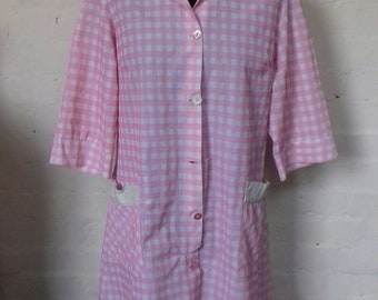 Pink and White Checked Coverall from the 1970's with imperfections.