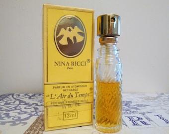vintage Nina Ricci L'Air du Temps parfum atomizer refill, 13 ml / 0.5 oz perfume recharge with box.