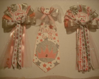 Mommy  Daddy and 2 Grandma To Be Princess baby shower corsages and Tie