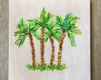"Beach Palm Tree Sand Background Acrylic Painting - 10""x10"" canvas"