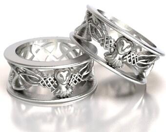 Celtic Owl Ring 925 Sterling Silver Owl Ring Barn Owl