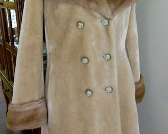 Vintage 1950's Faux Fur Borg Coat By Borgana By Sportstowne