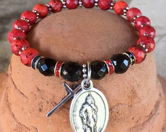 Firefighter prayer bracelet: Yoga bracelet with red dyed natural turquoise and black jade faceted beads w/ rhinestones and St. Florian charm