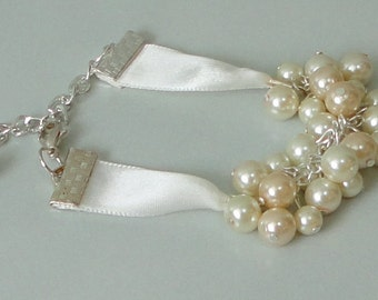 ON SALE PICK Your Color BRIDESmaid Gift Ivory & CHAMpagne Pearl Cluster Maid Of Honor Bridal Mother Of Bride WEDDing Bracelet By DYEnamite
