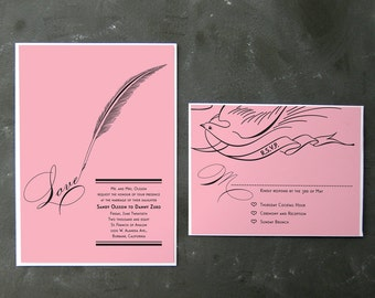 Sandy and Danny - Love Letter Invitations and RSVPs