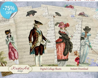 75% OFF SALE Digital Collage Sheet Age of Enlightenment Printable Download, Digital cards C074, Altered Art, Atc Aceo size vintage image