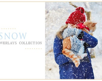 50 Snow Photoshop Overlays: Winter Wonderland Photo effect layer, Realistic Snowflakes for Christmas mini Sessions, action download