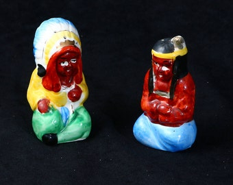 Vintage Native American Indian Chief & Squaw Salt and Pepper Shakers