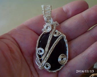 Black agate and silver wire wrapped pendant