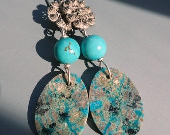 Cannetile Chrysocolla Azurite Slab Turquoise Earrings