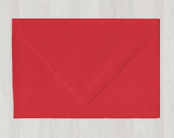 10 A8 Envelopes - Euro Flap - Red - DIY Invitations - Envelopes for Weddings and Other Events