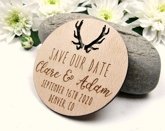 Save the Date Magnet, Antler Save the Date, Wood Save the Dates, Wedding Invitation, Wedding Favor, Rustic Save the Date, Deer Save the Date