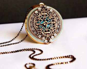 Blue Locket Necklace • Vintage Style Locket • Women's Necklace • Personalized Wedding Gift • Wedding Gift For Bride...Mother...Bridesmaid
