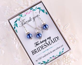 Dark Blue pearl earrings Blue jewelry set Navy Bridesmaid jewelry set Bridesmaid gift Pearl dangles Navy Blue and Ivory Beaded earrings