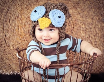Owl Baby Hat Blue Eyes Newborn, Owl Baby Hat Photo Prop, Owl Hat Photography Babies, The Perfect Gift Owl Hat Newborns, Animal Hat Baby OWL