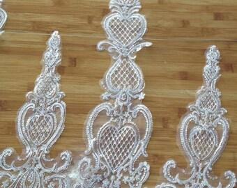 Ivory Bridal Lace trim, Alencon Lace Trim, wedding lace, trim lace, scalloped lace trim