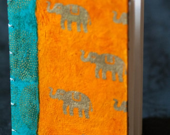 Lucky Elephant Journal with Orange and Teal Accents