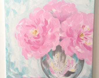 "Original Acrylic Peony Painting on Canvas with Glitter, Pink Turquoise Silver Gold 24""x24"", Living Room Art, Nursery Decor, Girl's Bedroom"