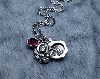 Our Lady of Guadalupe Necklace / Virgin of Guadalupe Sliding Locket Style Rose Pendant / Virgin Mary Necklace / Guadalupe Jewelry