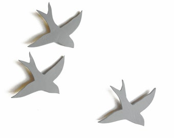 We Three Together Ceramic wall art 3D Acrylic painting Three swallows Modern Mid gray Soft pale grey birds Kitchen art bathroom living room