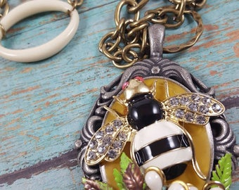 Bee necklace assemblage garden bumble bee vintage recycled jewelry