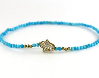 Turquoise Hamsa Bracelet, Dainty Beaded Turquoise Bracelet, Gold Pave Jewelry, Gold Charm Bracelet, Thin Beaded Stacking Bracelet