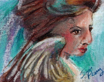 original art  aceo drawing woman teal angel
