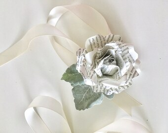 Book Flowers - A Simple Book Page Rose Wrist Corsage -  - Customized to Your Colors and Any Book of Your Choice