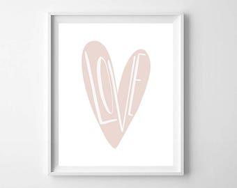 Pink Love Heart Print, Printable Art, Baby Gift, Girlfriend Gift, Love Heart Print, Girls Room Heart Decor, Modern Nursery Heart Print