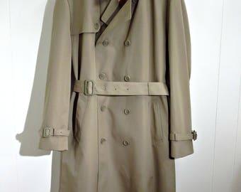 Trench coat raincoat mac army jacket work wear military hipster Japan double breasted pea coat short khaki classic unisex chest size 40 2NkxTC