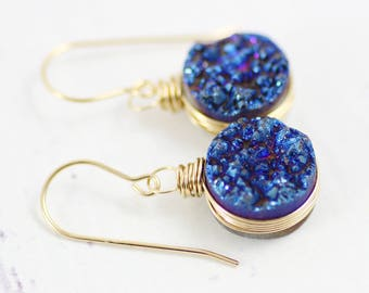 Something Blue, Long Earrings, Drop Earrings, Navy Blue Earrings, Dangle Earrings, Blue Earrings, Blue, Gemstone Earrings, Wedding Earrings