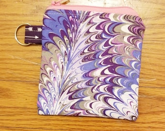 Small Swirl color Zippered pouch, Coin Purse, ID Case, Keychain