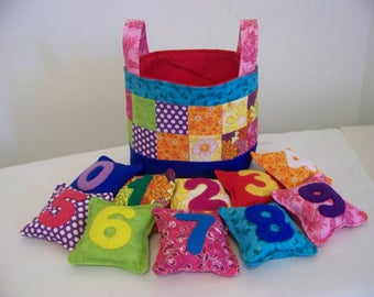 Numbered Bean Bags and Basket