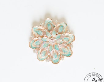 Mint green brooch, rose gold plated brooch, aqua brooch pin, flower brooch pin, enameled brooch pin, large turquoise brooch, metal broach