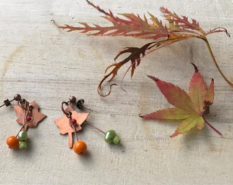 Hand Sawn Copper Autumn Maple Leaf Earrings, With Green, Red, And Orange Fall Colour Glass Beads - Canada, Canadian