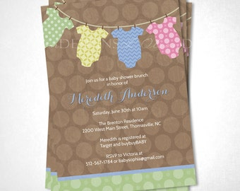 Baby Outfits on the Line Baby Shower Invitation - Brown - DIY Printable