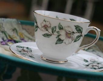 Fine Bone China Tea Cup English with White Flowers