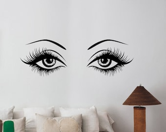 Sexy Woman Eyes Wall Decal Hot Female Look Eyelashes Vinyl Sticker Fashion Art Make Up Decorations for Home Beauty Salon Room Decor wes1