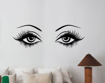 Sexy Woman Eyes Wall Decal Hot Female Look Eyelashes Vinyl Sticker Fashion Art Make Up Decorations for Home Beauty Salon Room Decor wes1 & Sexy eyes wall decal | Etsy