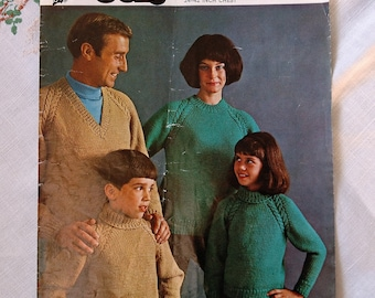 Vintage knitting pattern, Family Sweaters with variety of necklines, sizes 24 to 42 inch chest, double double crepe wool