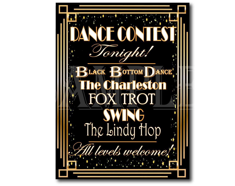 Prom Dance Contest Sign Set Art Deco Roaring 20s Printables The ...