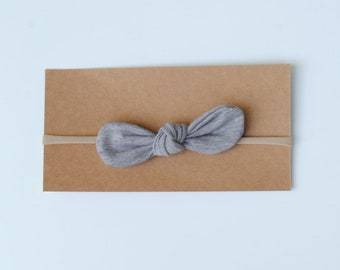 Nylon headband, small bow headband, skinny bow,  baby shower gift, grey bow baby girl headband, knot bow headband, newborn headband