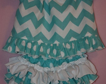 Aqua Blue chevron peasent top with Sassy ruffle Bloomers