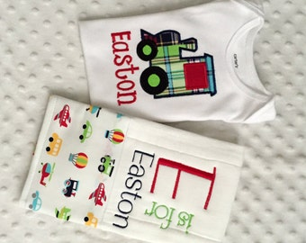 Baby Boy Personalized 2 Piece Gift Set  - Bodysuit and Burp Cloth- Choo Choo Train Applique