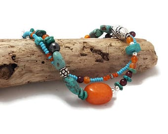 Boho Bracelet - Turquoise Bracelet - Gemstone - Orange bracelet - Turquoise Jewelry - Gift for her for Christmas
