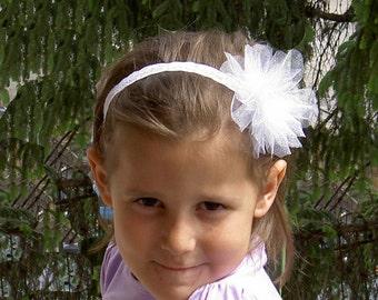 Tulle flower Headband - Tulle Headband - Flower Girl Headband - Flower Girl Hair Accessories - Flower Headband -  Tulle Hairband - White