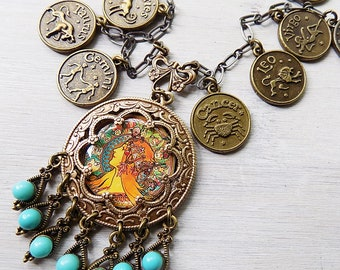 Zodiac necklace, celestial necklace, astrology jewelry, astrology pendant, Mucha jewelry, Art Nouveau, gypsy necklace, boho necklace, coins