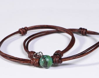 Chrysocolla Necklace Leather Necklace Choker Necklace Gemstone Jewelry