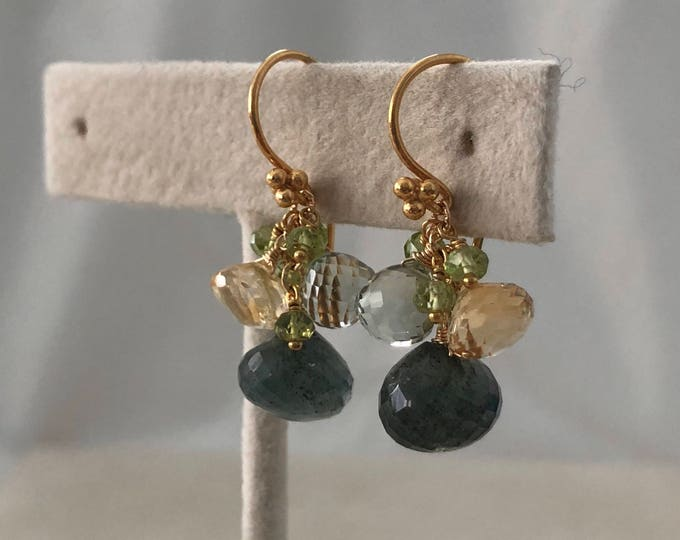 Autumn Inspired Boutique Earrings in Gold Vermeil with Moss Aquamarine, Green Amethyst, Citrine and Peridot